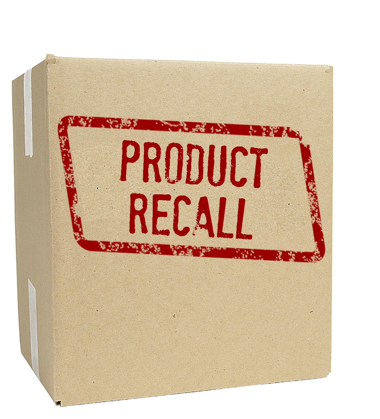 "Image of shipping box with the words ""product recall"" stamped on side"